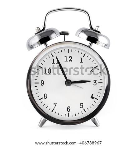alarm clock, isolated on white background. - stock photo