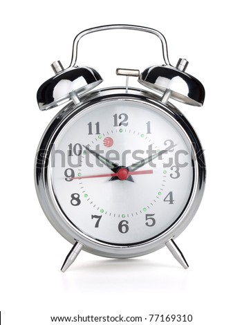 Alarm clock. Isolated on white background - stock photo