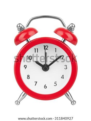 Alarm clock, isolated on white backgroung - stock photo