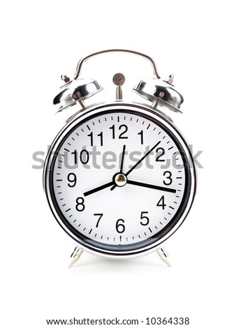 Alarm clock on a white background - stock photo