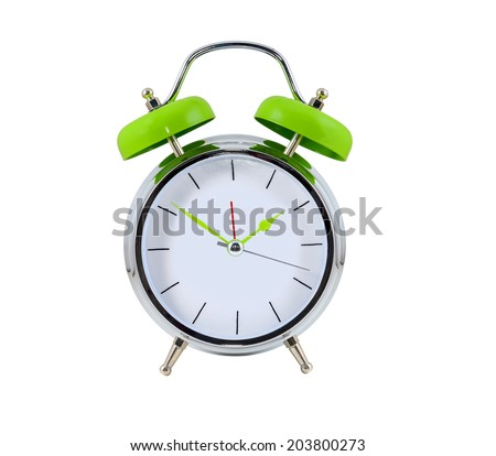 Alarm clock on the white background - stock photo