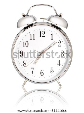 alarm clock on white background - stock photo