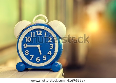 alarm clock outdoor on way walk old life time concept - stock photo