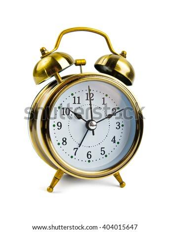 alarm clock retro style isolated on white - stock photo