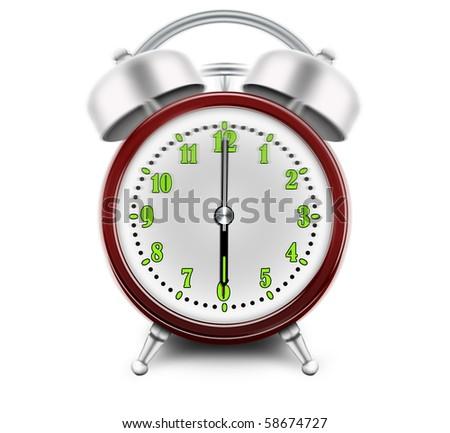 Alarm clock ringing at 6 o'clock - stock photo