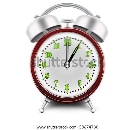 Alarm clock ringing at 1 o'clock - stock photo