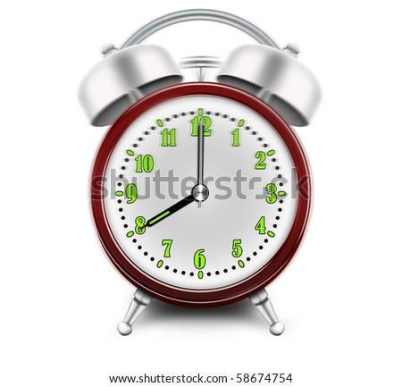 Alarm clock ringing at 8 o'clock - stock photo