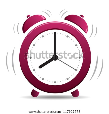 Alarm Clock simple icon isolated on white background - stock photo