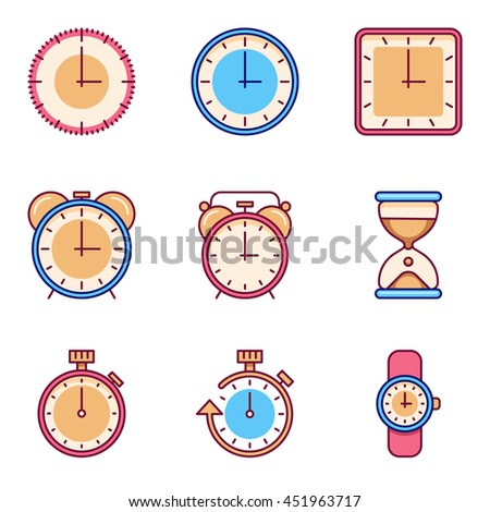 Alarm clock, timer, watch flat icons - stock photo