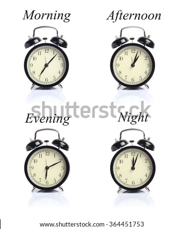 Alarm clock Times of Day isolated white background - stock photo