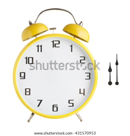 Alarm clock with no hands. Hour and minute hands separated. Isolated on white background. Just set your own time - stock photo