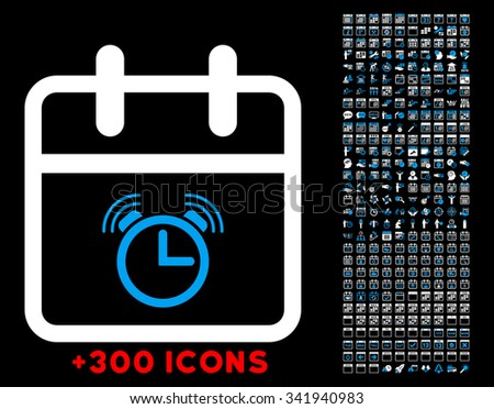 Alarm Date glyph icon with additional 300 date and time management pictograms. Style is bicolor flat symbols, blue and white colors, rounded angles, black background. - stock photo