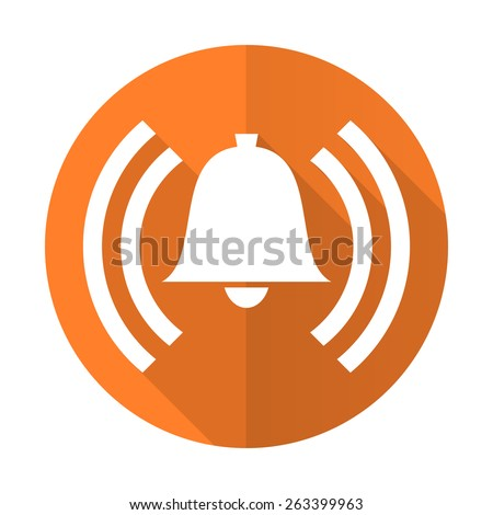 alarm orange flat icon alert sign bell symbol  - stock photo