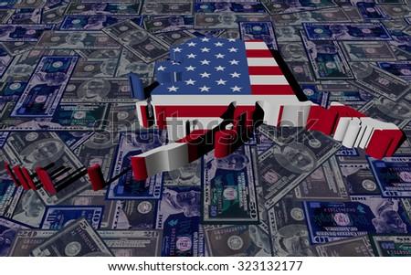 Alaska Map flag on dollars illustration - stock photo
