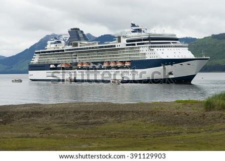 Alaskan cruise ship destination vacation  - stock photo