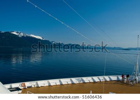 Alaskan Inside Passage View from Cruiseship - stock photo