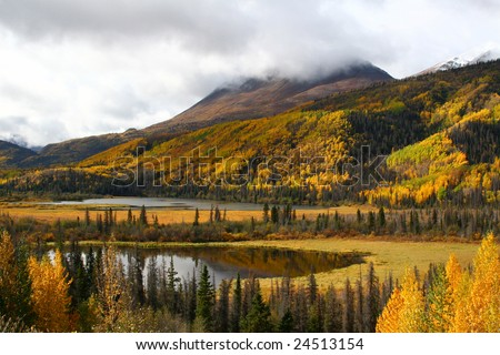 Alaskan Mountain & Lake in Fall - stock photo