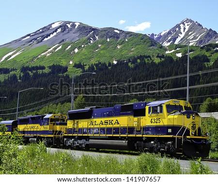 Alaskan railway - stock photo