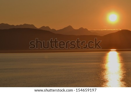 alaskan sunset - stock photo