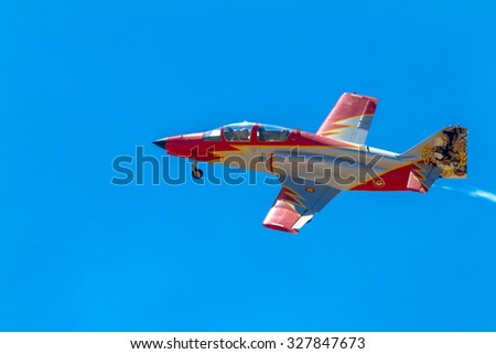 ALBACETE, SPAIN-JUN 23:  Aircraft of the Patrulla Aguila taking part in an exhibition on the open days of the airbase of Los Llanos on Jun 23, 2013, in Albacete, Spain - stock photo