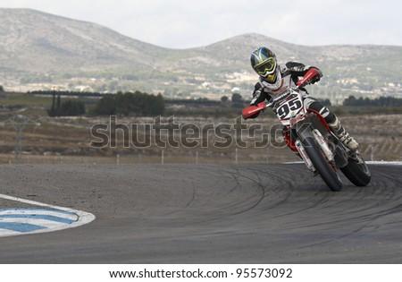 ALBAIDA, SPAIN - OCTOBER 23: Nil Dura pilot of motorcycling in the Spanish championship of supermotard on October 23, 2011, Albaida, Spain - stock photo