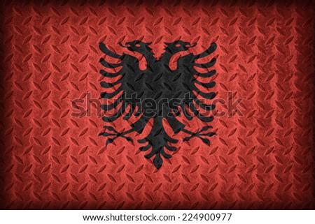 Albania flag pattern on the diamond metal plate texture ,vintage style - stock photo