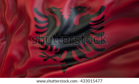 Albania national flag waving in the wind 3d rendering - stock photo