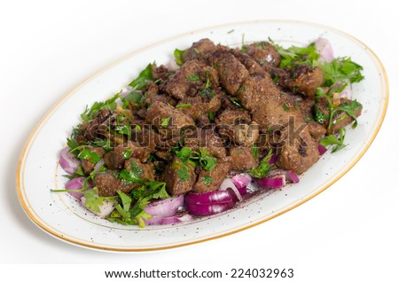 Albanian Liver, a traditional Turkish spiced lamb's liver recipe popular throughout the Middle East - stock photo