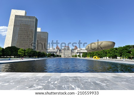 ALBANY, NEW YORK - JULY 6, 2014: Empire State Plaza, a complex of several state government buildings in downtown Albany, New York. - stock photo