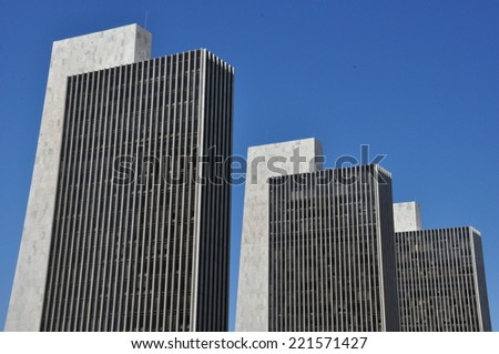 ALBANY, NEW YORK - MAY 11: Empire State Plaza in Albany, New York, on May 11, 2014. It houses several departments of New York State administration and is integrated with New York State Capitol. - stock photo