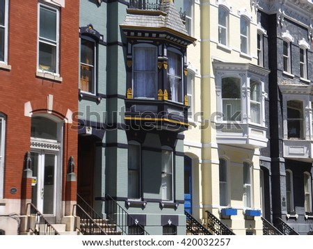ALBANY, NY - MAY 11: Homes on the streets of Albany in New York, as seen on May 11, 2014. Albany is the capital of the U.S. state of New York and the seat of Albany County.  - stock photo