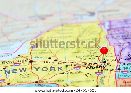 Albany pinned on a map of USA  - stock photo