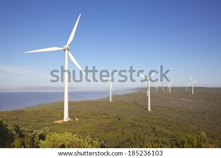 Albany Wind Farm, near the town of the same name in Western Australia. - stock photo