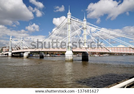 Albert Bridge, London, England, UK - stock photo