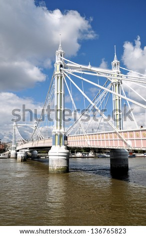 Albert Bridge over River Thames, London, England, UK - stock photo