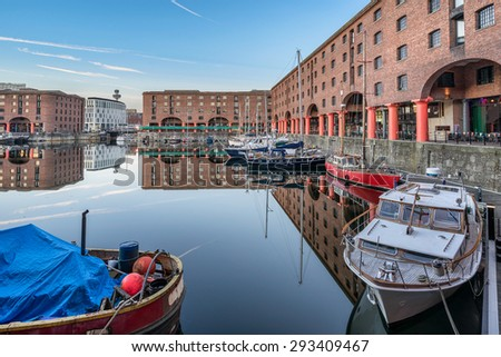 Albert Dock and marina in Liverpool - stock photo