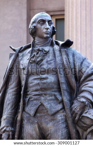 Albert Gallatin Statue US Treasury Department Washington DC Longest running US Treasurer 1801 to 1814.  Bronze Statue by James Earle Fraser.  Dedicated 1947. Statue owned by National Park Service. - stock photo