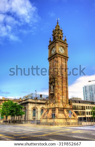 Albert Memorial Clock in Belfast - Northern Ireland - stock photo