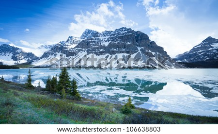 Alberta Landscape Canada Mountains and Icy River, Icefields Parkway, Alberta Canada - stock photo