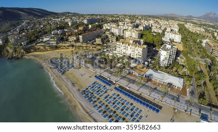 Albir, Aerial view of a sunny morning in Spanish Town along Costa Blanca, Albir. near Altea, province of Alicante. Amazing Video also available from this shooting scene in ultra hd . Check this out  - stock photo
