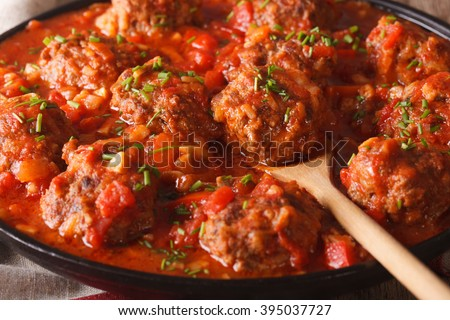 Albondigas meatballs with spicy sauce on a dish on the table close-up. Horizontal