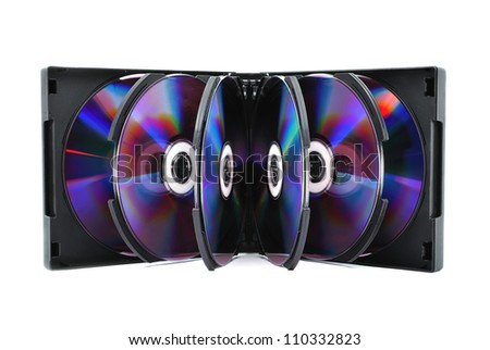 album with dvd drives on a white background - stock photo