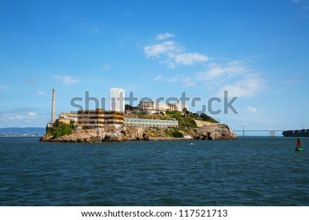 Alcatraz island in San Francisco bay, California with former prison ruins - stock photo