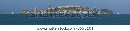 Alcatraz Island Panoramic from Downtown San Francisco on a clear windy afternoon. - stock photo