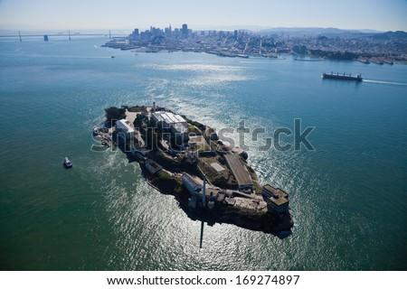 Alcatraz jail in San Francisco bay - stock photo