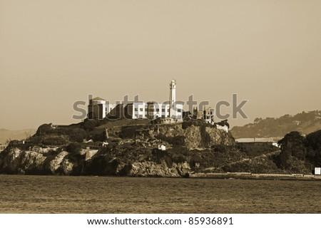 Alcatraz Prison, San Francisco,California in sepia. - stock photo