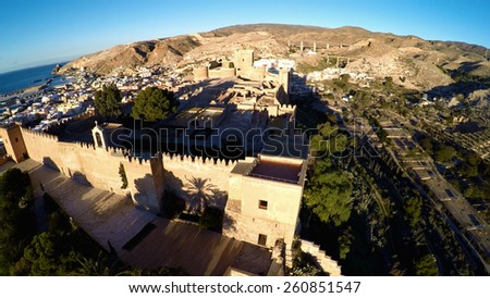 Alcazaba, Aerial shot of an old muslim construction in Almeria, Spain / STUNNING VIDEO AVAILABLE (UHD Quality) on my footage gallery. - stock photo