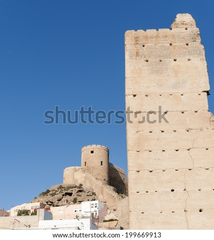 Alcazaba and Tower  in foreground - stock photo