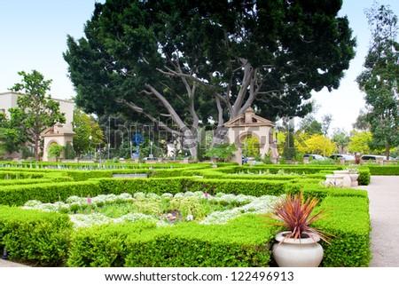 Alcazar Gardens in Balboa Park, San Diego, California - stock photo