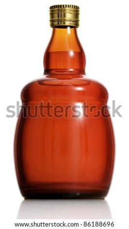 Alcohol bottle isolated on white background, 3D. - stock photo